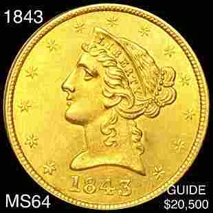 1843 $5 Gold Half Eagle CHOICE BU