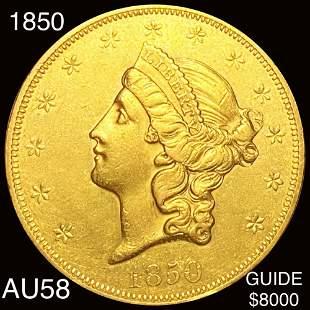 1850 $20 Gold Double Eagle CHOICE AU