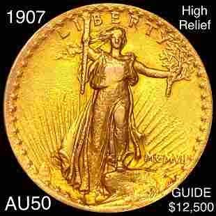1907 $20 Gold Double Eagle ABOUT UNC HIGH RELIEF