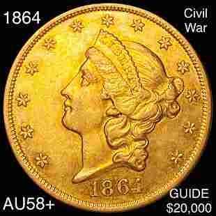 1864 $20 Gold Double Eagle CHOICE AU