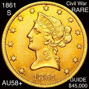 1861-S $10 Gold Eagle CHOICE AU