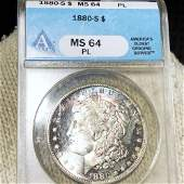 1880-S Morgan Silver Dollar ANACS - MS 64 PL