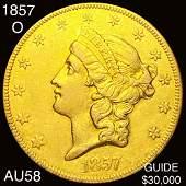 1857-O $20 Gold Double Eagle CHOICE AU