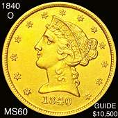1840-O $5 Gold Half Eagle UNCIRCULATED