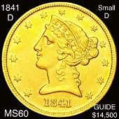 1841-D $5 Gold Half Eagle UNCIRCULATED SML D