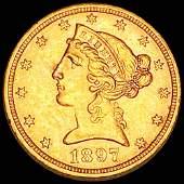 1897 $5 Gold Half Eagle UNCIRCULATED