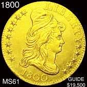 1800 $5 Gold Half Eagle UNCIRCULATED