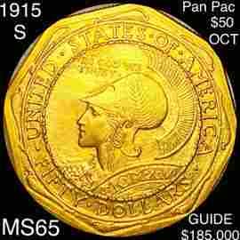 1915-S Pan-Pac $50 Octagonal Gold Piece GEM UNC