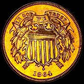 1864 Two Cent Piece UNC RED SMALL MOTTO