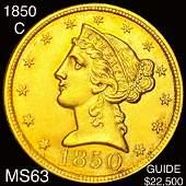 1850-C $5 Gold Half Eagle CHOICE BU
