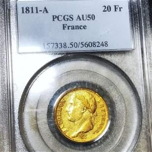 1881-A French Gold 20 Francs PCGS - AU50