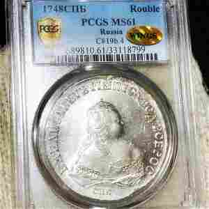 1748 Russian Silver Rouble PCGS - MS 61 WINGS