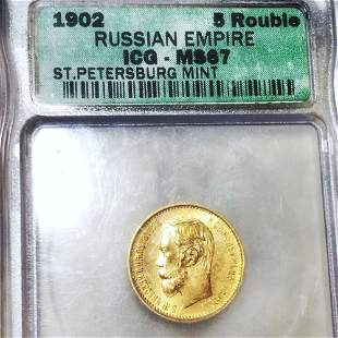 1902 Russian Gold 5 Rouble ICG - MS67