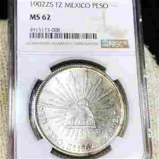1902 Mexican Silver Peso NGC - MS62