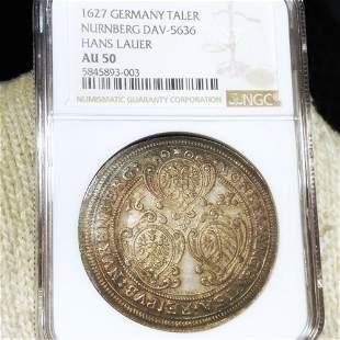 1627 Germany Nurnberg Silver Taler NGC - AU50