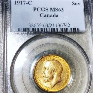 1917-C Canadian Gold Sovereign PCGS - MS63