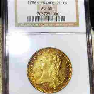 1786-H French Gold 2 Louis D'or NGC - AU58