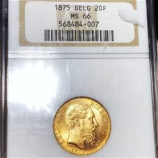 1875 Belgiam Gold 20 Francs NGC - MS66