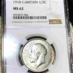 1918 Great Britain Silver Half Crown NGC - MS62