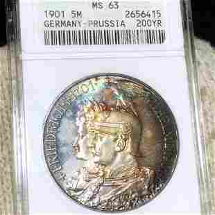 1901 Germany-Prussia Silver 5 Mark ANACS - MS63