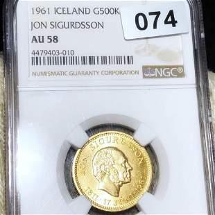 1961 Iceland Gold 500 Kroner NGC - AU58