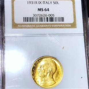 1931-R Italian Gold 50 Lire NGC - MS64