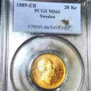 1889-EB Swedish Gold 20 Kroner PCGS - MS66
