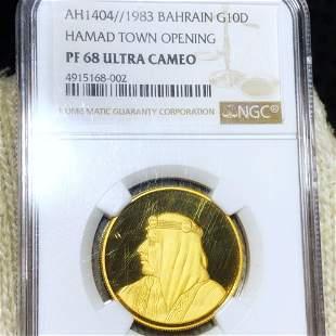 1983 Bahrain Gold 10 Dinars NGC - PF 68 ULT CAMEO