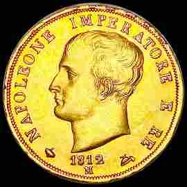 1812 Italian Gold 40 Lira UNCIRCULATED