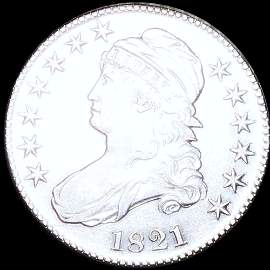 1821 Capped Bust Half Dollar NEARLY UNCIRCULATED
