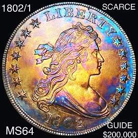 1802/1 Draped Bust Dollar CHOICE BU