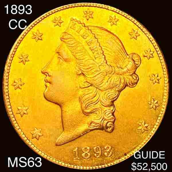 1893-CC $20 Gold Double Eagle CHOICE BU