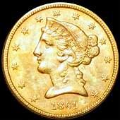 1861 $5 Gold Half Eagle UNCIRCULATED