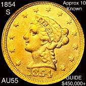 1854-S $2.50 Gold Quarter Eagle CHOICE AU