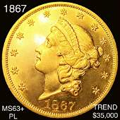 1867 $20 Gold Double Eagle CHOICE BU PL
