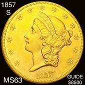1857-S $20 Gold Double Eagle CHOICE BU