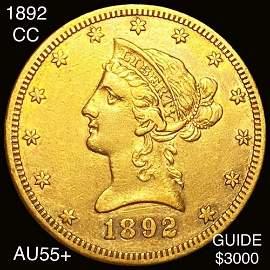 1892-CC $10 Gold Eagle CHOICE AU