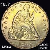 1857 Seated Liberty Dollar CHOICE BU