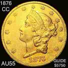 1876-CC $20 Gold Double Eagle CHOICE AU