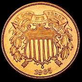 1865 Two Cent Piece CHOICE BU RED