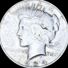 1934-S Silver Peace Dollar LIGHTLY CIRCULATED