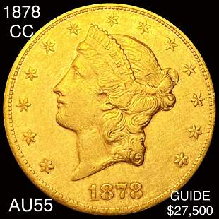 1878-CC $20 Gold Double Eagle CHOICE AU