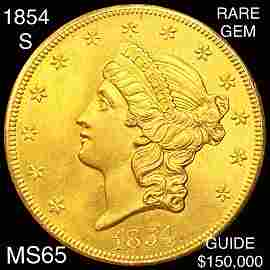 1854-S $20 Gold Double Eagle GEM BU