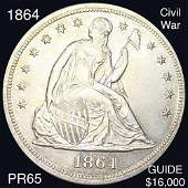 1864 Seated Liberty Dollar GEM PROOF