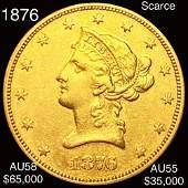1876 $10 Gold Eagle CHOICE AU *SCARCE