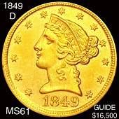1849-D $5 Gold Half Eagle UNCIRCULATED