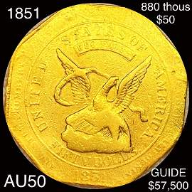 1851 $50 Humbert Gold Piece ABOUT UNC 880 THOUS