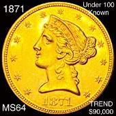 1871 $5 Gold Half Eagle CHOICE BU