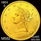 1854-S $5 Gold Half Eagle UNCIRCULATED