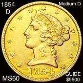 1854-D $5 Gold Half Eagle UNCIRCULATED MED D